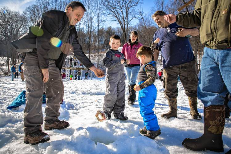The recorder conway ice fishing derby hooks 40 kids for Ice fishing derby