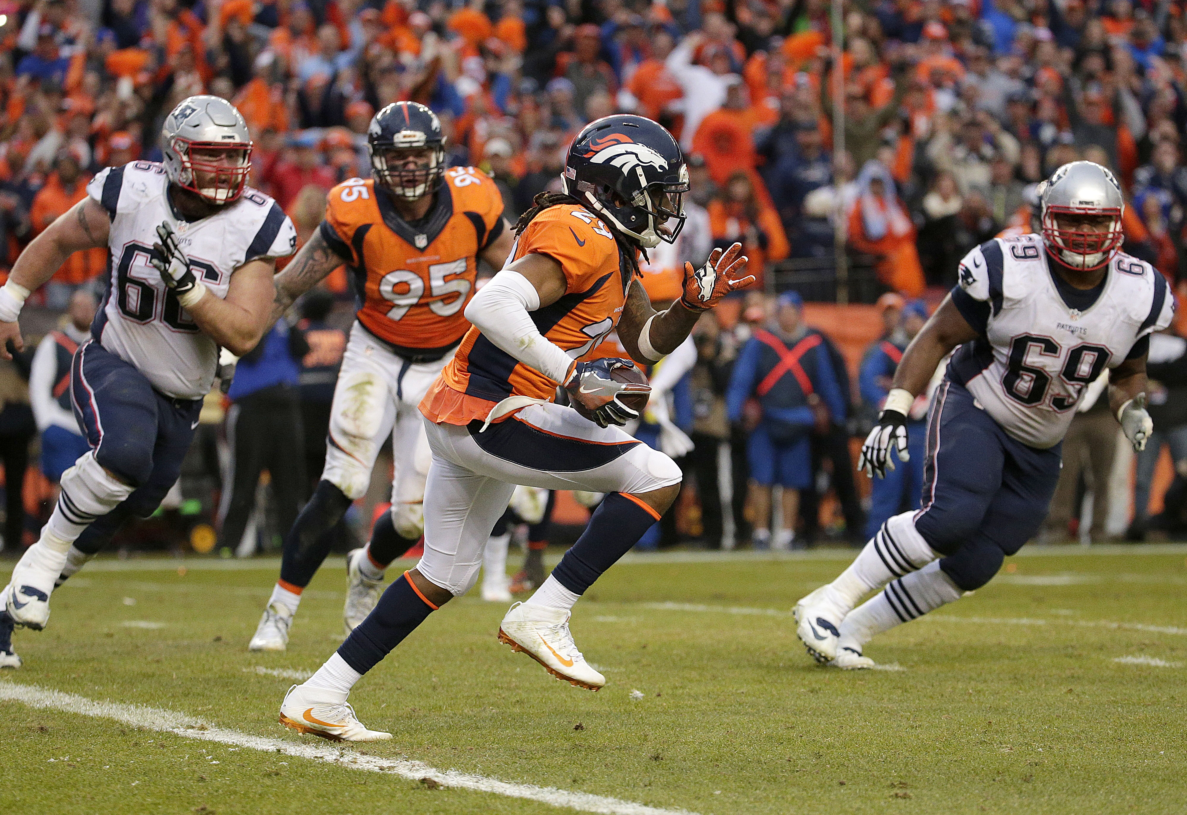 ... Denver Broncos free safety Bradley Roby (29) runs with the ball after  catching a . ... 659fe64be