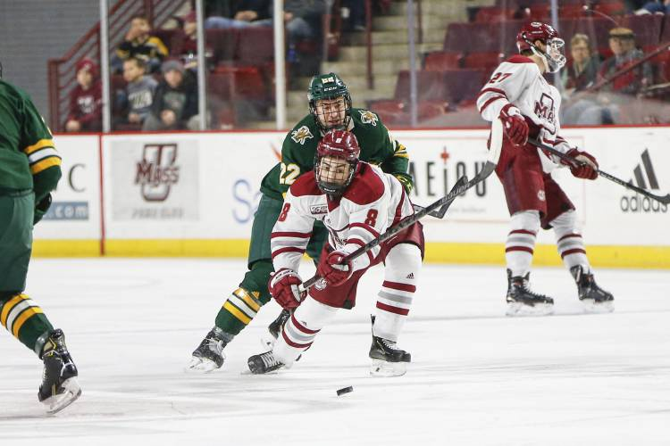 UMass Amherst forward Bobby Trivigno (8) and Vermont forward Alex Esposito  (22) go for the puck during a NCAA hockey game dc28a7e4f
