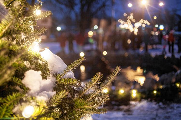 Residents gathered on South Deerfield's village common Sunday evening for the town's annual tree lighting event, Dec. 10, 2017. Recorder Staff/Andy Castillo ...