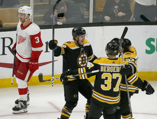 The Recorder Pastrnak Gets Hat Trick Bruins Rout Winless Red