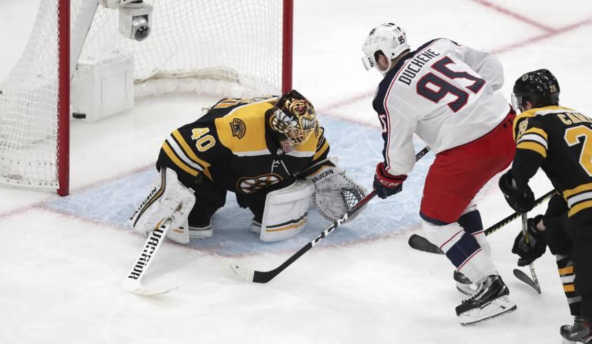 406605c22 Columbus Blue Jackets center Matt Duchene (95) shoots the game-wining goal  past Boston Bruins goaltender Tuukka Rask (40) during double overtime of  Game 2 ...