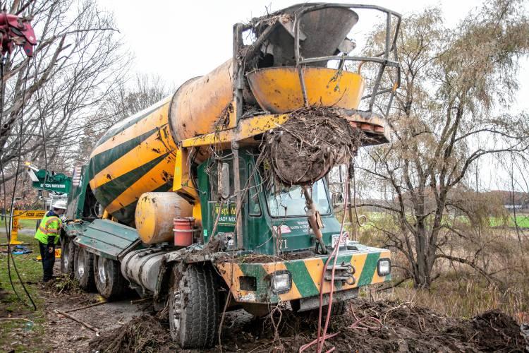 the recorder cement truck rolls over in deerfield
