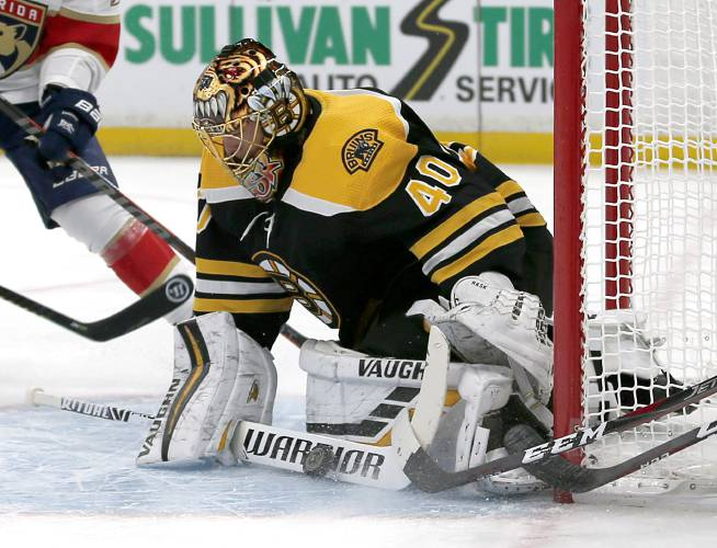 256f87eaba7 Boston Bruins goaltender Tuukka Rask (40) makes a stick-save during the  first period of an NHL hockey game against the Florida Panthers