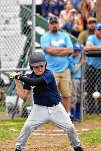 f27909587 Ty Griswold of the Buckland Shelburne Brewers gets ready to swing at a  pitch during Major Division action Saturday as the Mohawk Youth League held  Opening ...