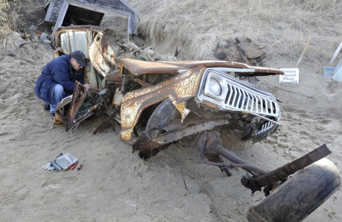 Jeep buried in sand dune unearthed after 40 years