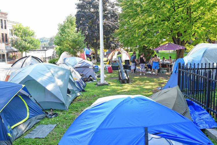 Fifteen tents were pitched on the Greenfield Common Monday afternoon. August 6 2018 Recorder Staff/Paul Franzu2014Paul Franz. & The Recorder - Is a deadline coming for Greenfieldu0027s u0027tent townu0027 on ...