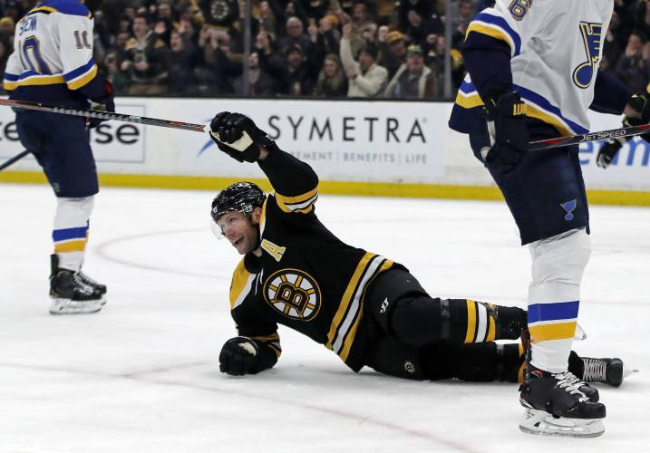 Boston Bruins right wing David Backes (42) celebrates his goal against the  St. Louis Blues during the second period of an NHL hockey game Thursday bdfc39664